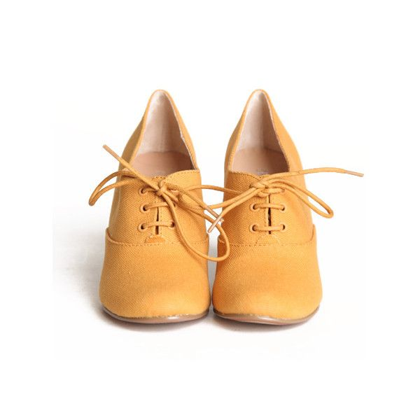 "Chelsea Crew ""Sari"" oxford wedges in mustard ($65) ❤ liked on Polyvore featuring shoes, oxfords, heels, women, mustard wedges shoes, synthetic shoes, wedges shoes, cushioned shoes and wood heel shoes"
