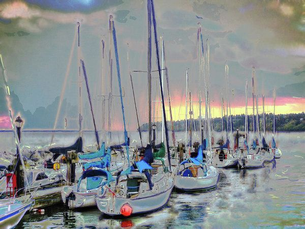 Dusk At White Rock Art Print by Leslie Montgomery.