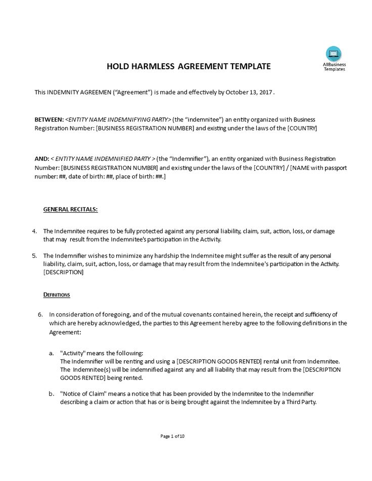 Hold Harmless Agreement - How to arrange indemnity between two parties? Set up an Hold Harmless Agreement! Download this Hold Harmless Agreement template now to arrange liability issues.