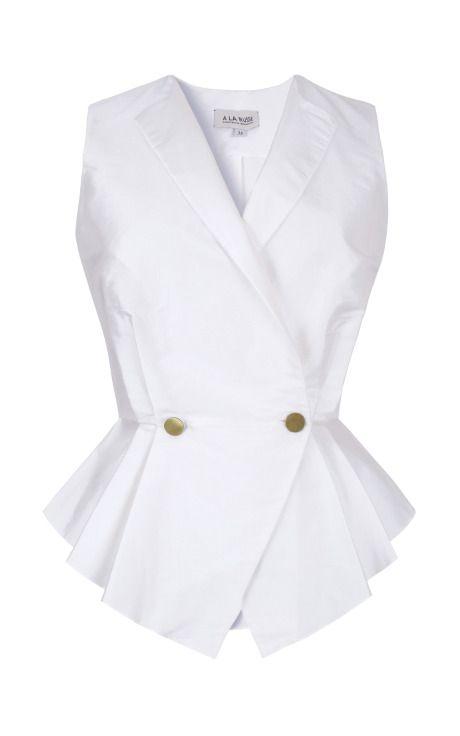 Pleated Graduated Peplum Vest by A La Russe for Preorder on Moda Operandi