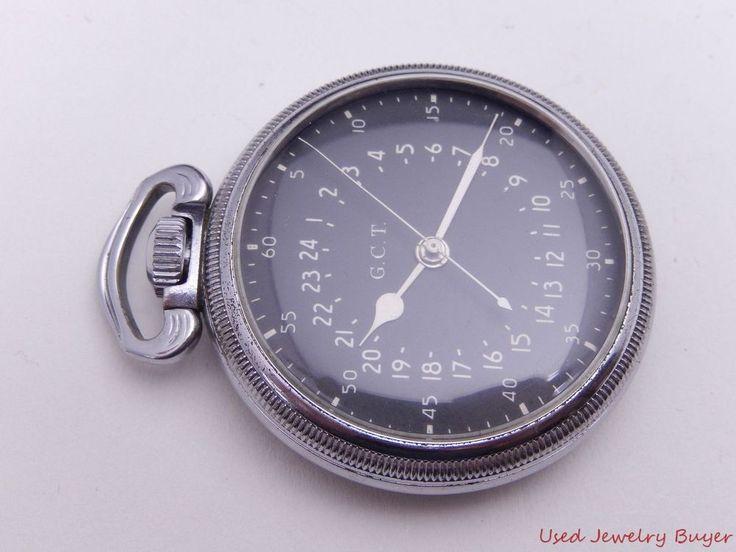 Hamilton GCT 1944 WWII Military 24 Hour 4992B 22j 16s Pocket Watch Service 3/17 #Hamilton