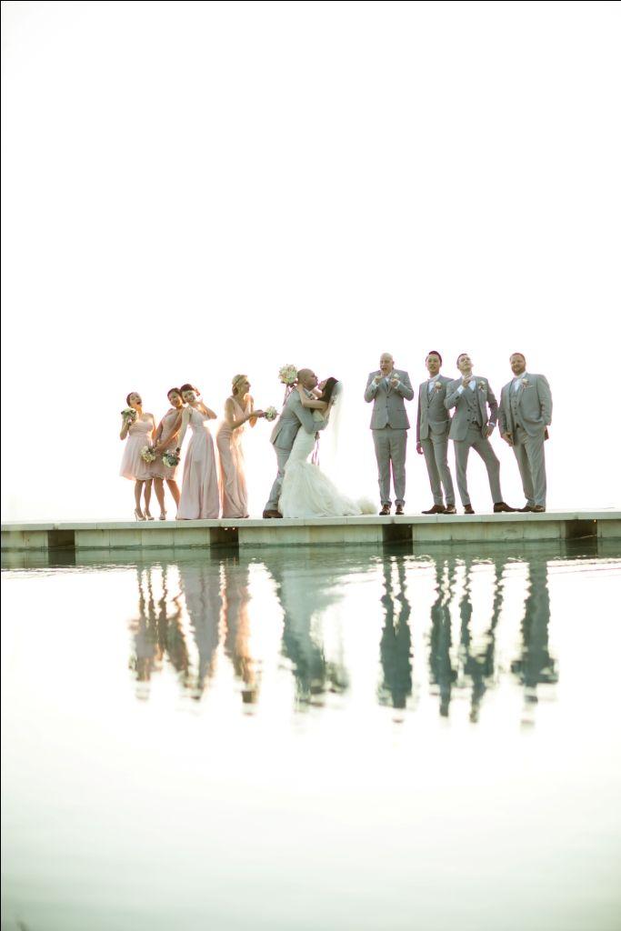 Newlywed & Bridal Party on Bridge