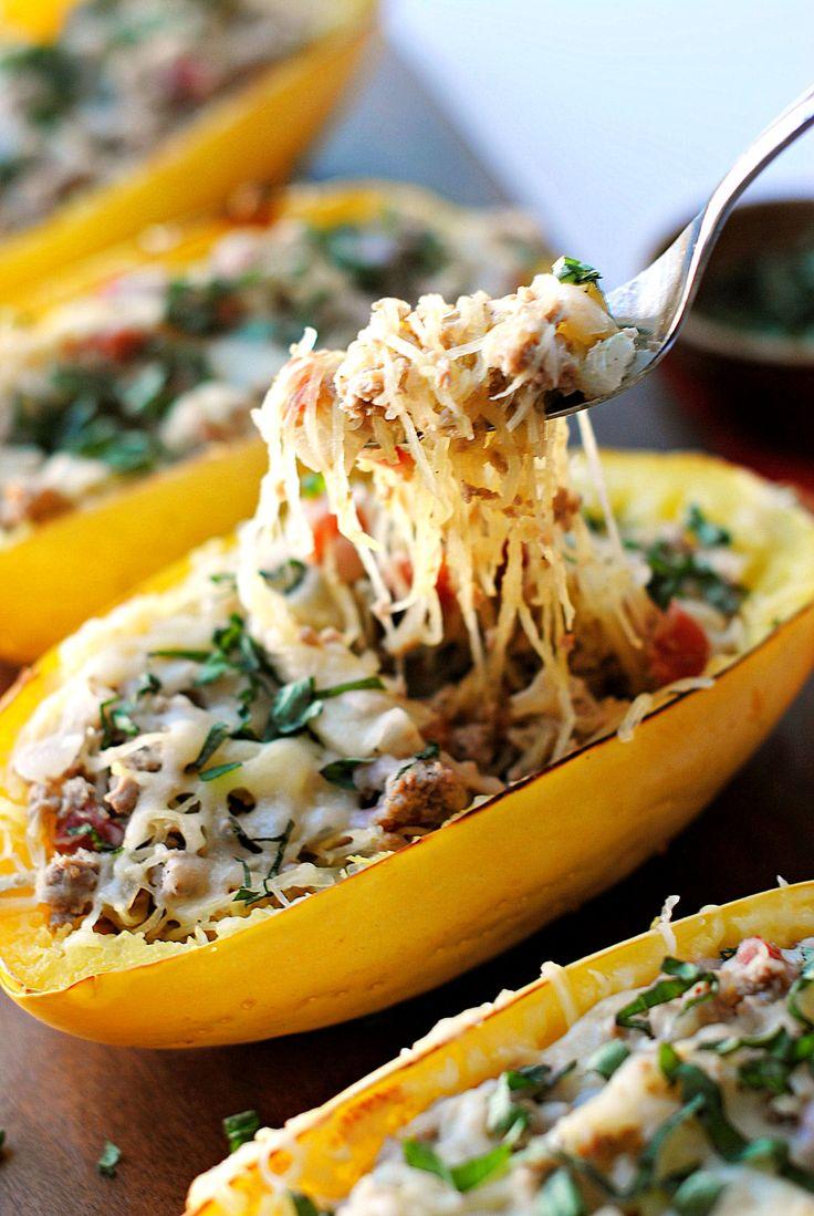 Spaghetti Squash Boats with Spicy Sausage on MyRecipeMagic.com