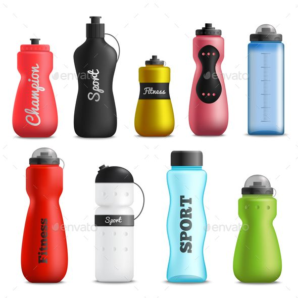 Download Fitness Running And Sport Water Bottles Various Shapes Size And Colors Realistic Objects Collection Isolated Vector