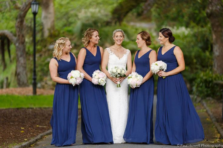 Don't Becky's bridesmaids look stunning in their full length Lillian gowns #sallyeaglebridal #Lillian #bridesmaids  Photo Credit: Paul Howell Photography