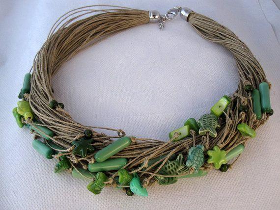 Necklace green blue linen thread fish turtles stars by espurna88