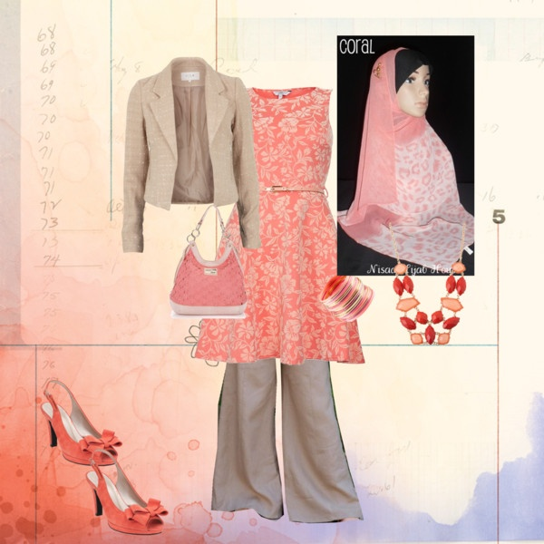 """Coral Formal Hijab"" by sanaa-muneer on Polyvore"