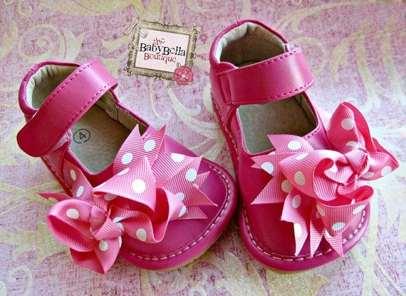 Toddler hot  pink leather squeaky shoes.Girl may jane,leather shoes. on Etsy, $24.99