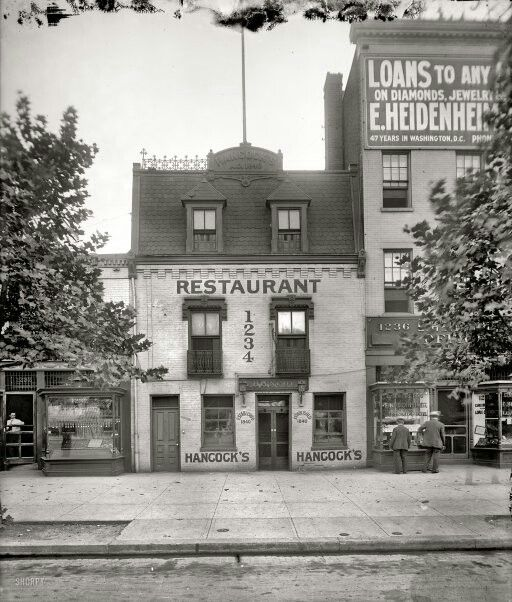 "Hancock's, the Old Curiosity Shop, 1234 Pennsylvania Avenue,"" probably around 1914."