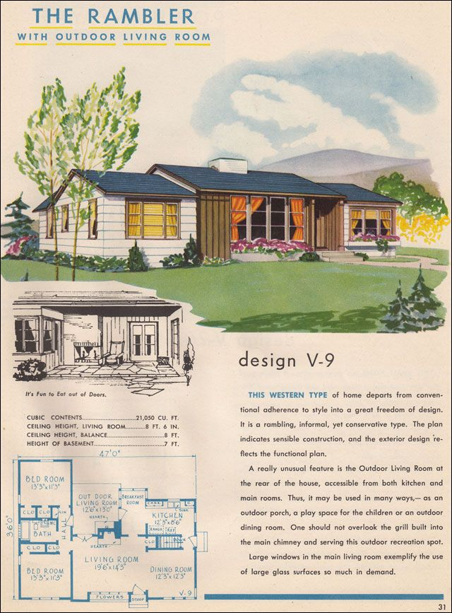 1945 National Plan Service Western Rambler Floorplans