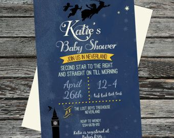 Vintage Peter Pan Baby Shower invite, Neverland, Second Star to the Right and straight on till morning digital file, personalised invitation