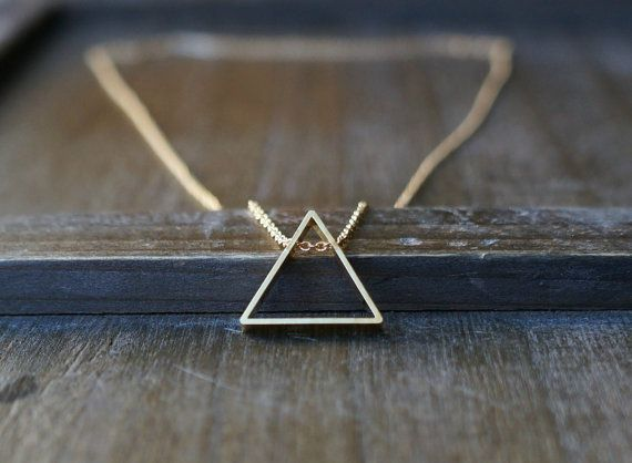 Triangle Necklace / Geometric Pendant on a Gold Filled Chain on Etsy, $27.00