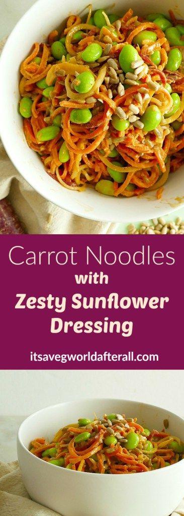 Zesty Sunflower Carrot Spirals | the perfect vegan, gluten-free and paleo side dish or meal! | itsavegworldafterall.com