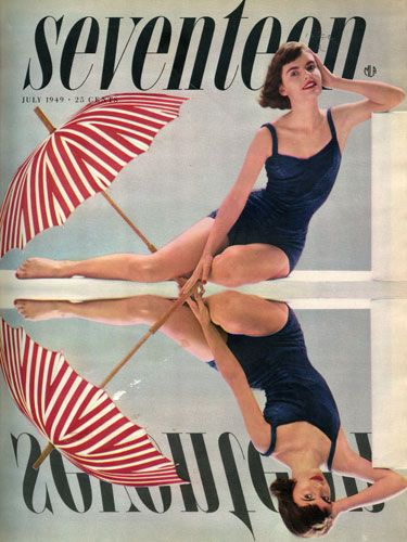 """July — the month of 'the Fourth,' vacations, swimming, sailing, sunning, and...bathing suits."" This cute suit would've only set you back $13 at Filene's back in 1949. Doesn't it totally look like something Katy Perry would wear? This issue of the mag also contained advice on how to arrange your dolls. But one thing that hasn't changed? Girls back then were always writing in asking about how they could be models! And an equal amount were also asking about being airline hostesses!"