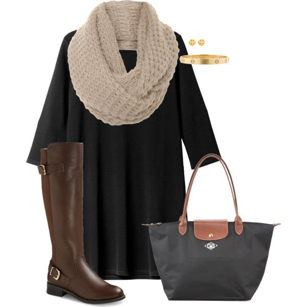 Riding boots & a dress by tex-prep on Polyvore featuring Monki, Longchamp, Cartier, Tory Burch and A|Wear