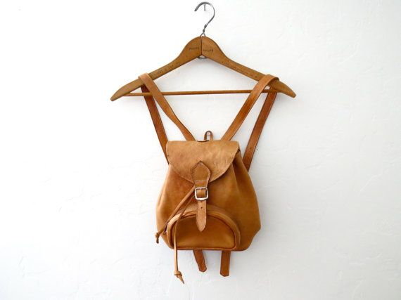 Small Leather Backpack // Tan Leather // Natural Leather Bag // Camel Backpack