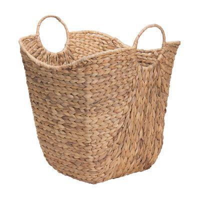 Household Essentials Tall Water Hyacinth Wicker Basket with Handles & Reviews | Wayfair