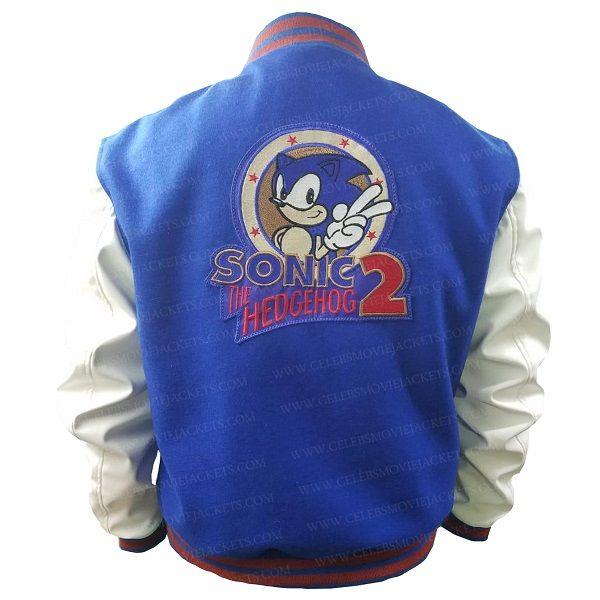 Sonic The Hedgehog Varsity Jacket In 2020 Celebrity Jackets Ribbed Jacket White Bomber Jacket