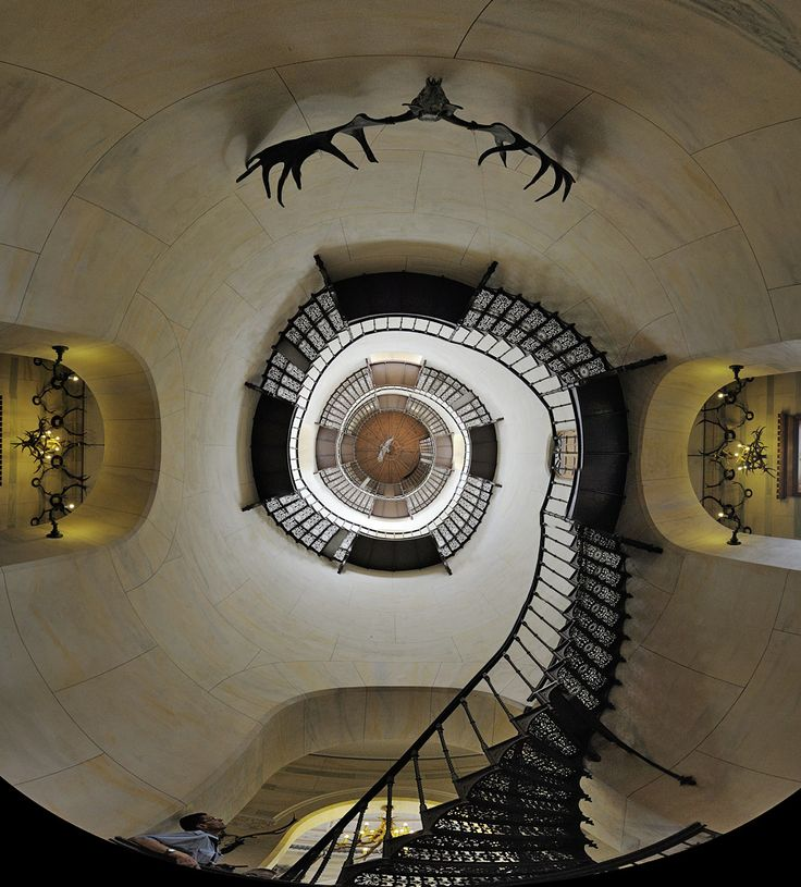 Circular stairs at a hunting chateau in Ruegen.