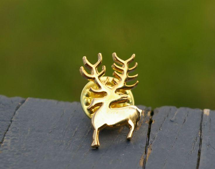 Buck Deer Reindeer Antlers Christmas Lapel Pin Pinback Gold Tone Metal Signed  | eBay