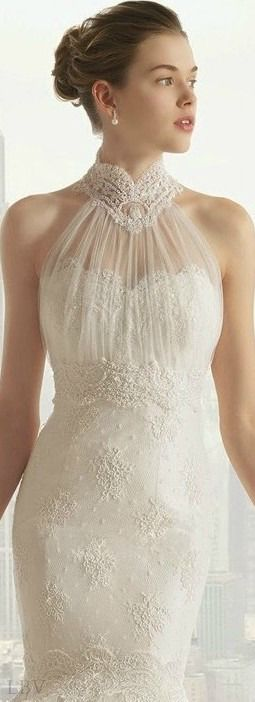 Rosa Clara 2015 Bridal | LBV ♥✤ - Love the neck, would like it with out the cleavage covered too