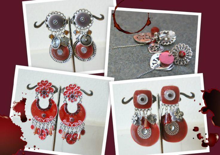 Mooie #oorclips , clip oorbellen in het wijn rood http://www.statementpieces.nl/c-931243/clip-oorbellen/