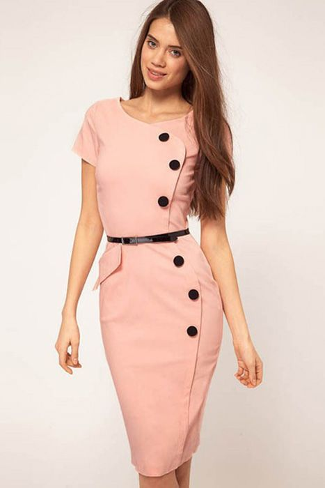 Casual Cap Sleeves Button Belt Decoration Pink Midi Dress
