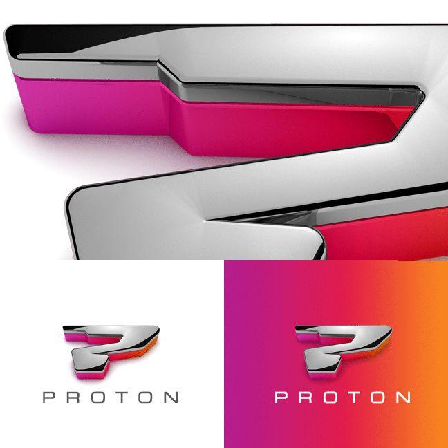 Proton Technology logo, cool chrome P logo
