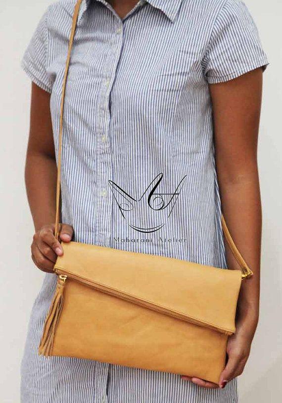 Camel Foldover Leather  Crossbody Bag by MAHARANIatelier on Etsy