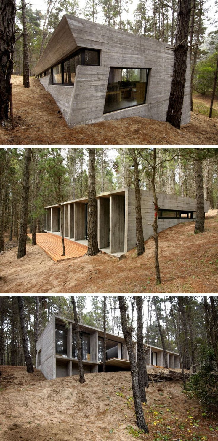 18 Modern Houses In The Forest | This concrete house contrasts the natural elements of the forest that surround it.