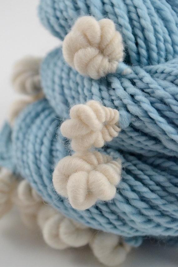 Popcorn cog handspun art yarn  75 Yards by bluecocoonyarn on Etsy,