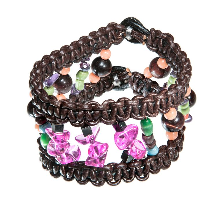 Wide brown leather bracelet with pink glass beads