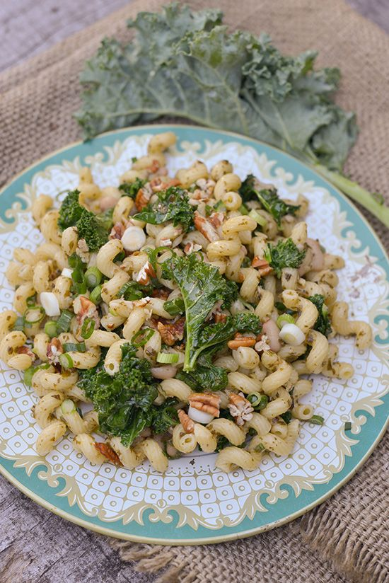 Curly Kale and Curly Pasta Salad by Erin Gleeson, bhg.com #Salad #Pasta #Kale