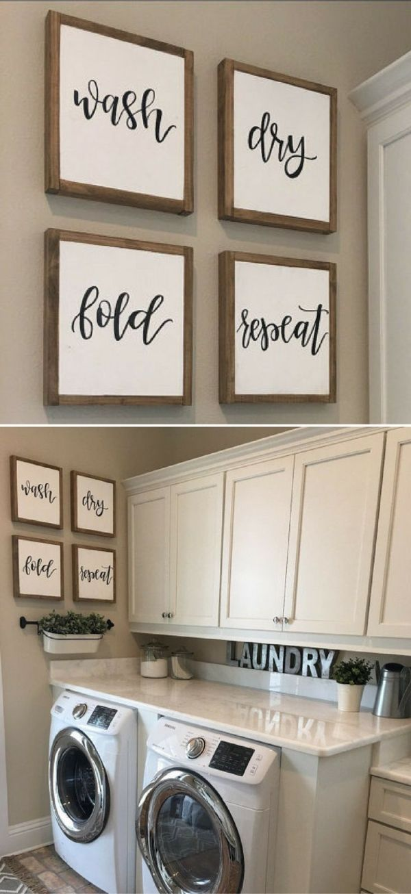 Laundry Room Sign | Laundry Sign | Wash Dry Fold Repeat Sign | Reclaimed Wood Sign | Mudroom Signs | Laundry Room Wall Decor | Fixer Upper | Farmhouse Sign | Farmhouse Decor | Rustic Decor #ad by bobbi