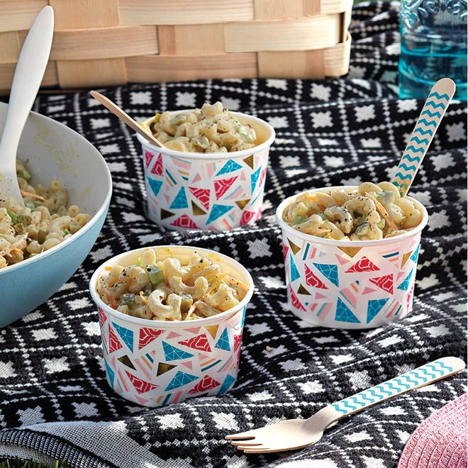 What's a picnic without a heaping helping of creamy macaroni salad? Our version comes together in a snap.