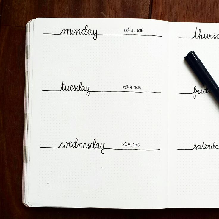 Weekly Spread, Daily Spread, Bullet Journal. diario agenda settimanale