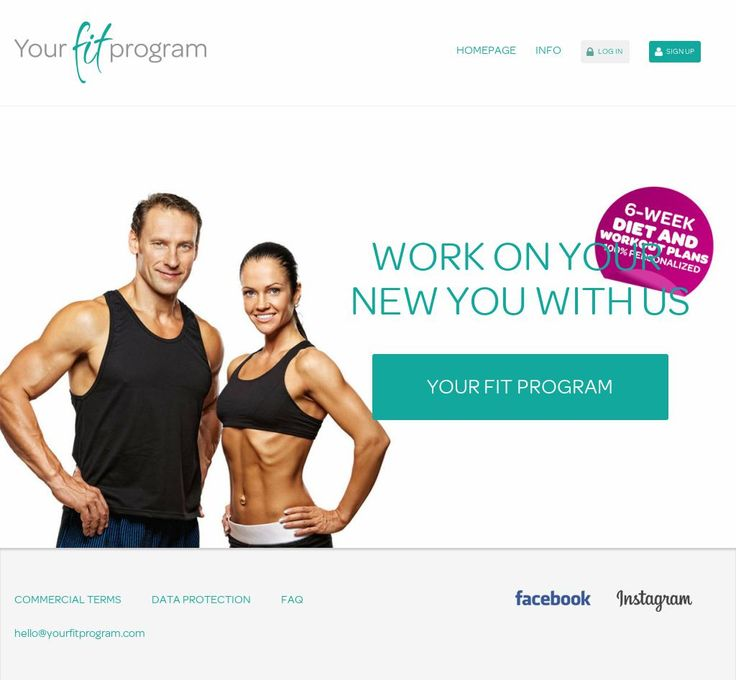 The website 'http://www.yourfitprogram.com/en Diet and Workout plan