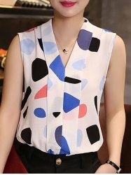 Chic V Neck Sleeveless Printed Chiffon Blouse For Women - COLORMIX XL