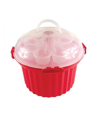 This Red Cupcake Carousel Carrier by Fox Run is perfect! #zulilyfinds