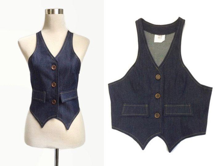 1970's Denim waistcoat - Vintage 70's Waistcoat - Vintage Vest - Deadstock by hurdyburdy on Etsy