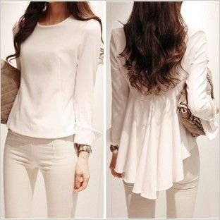 2013 spring summer new fashion Korean style women chiffon blouse white wild irregular hem fold waist fishtail shirtD3313