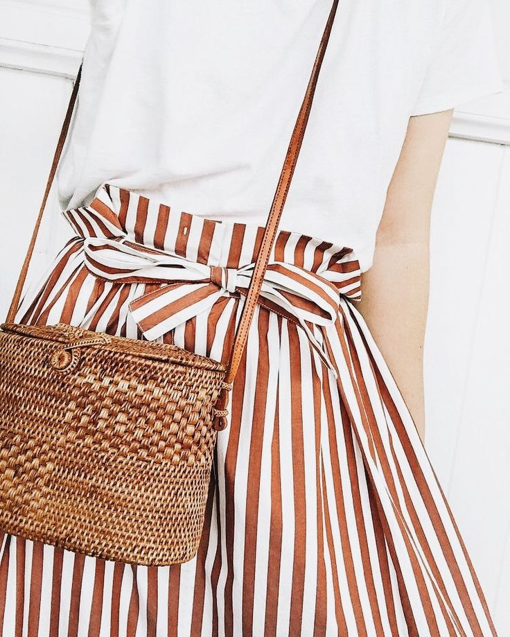 style | fashion | outfit | spring | summer | white shirt | striped skirt | white and brown | brown | straw bag | cross body