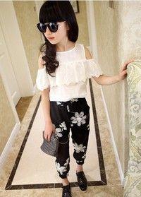 Wish   Summer 2017 Kids Fashion Girls Clothing Sets 2 pcs White Lace Blouse Top & Black Flowers Pants Set for Teenage Girls Clothes Set