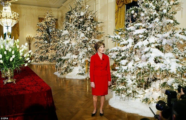 green trees flocked with white (and Laura Bush???)