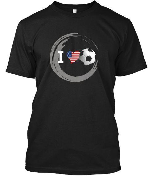 Soccer Heart American Flag U.S  Shirt Black T-Shirt Front