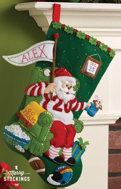 bucilla bucilla felt appliqu kit santa s poinsettia tree vintage rare bucilla golfing santa christmas stocking - Christmas Stocking Kits