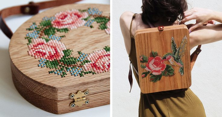 Wearable Wooden Bags That I Cross-Stitch With Nature Patterns | Bored Panda