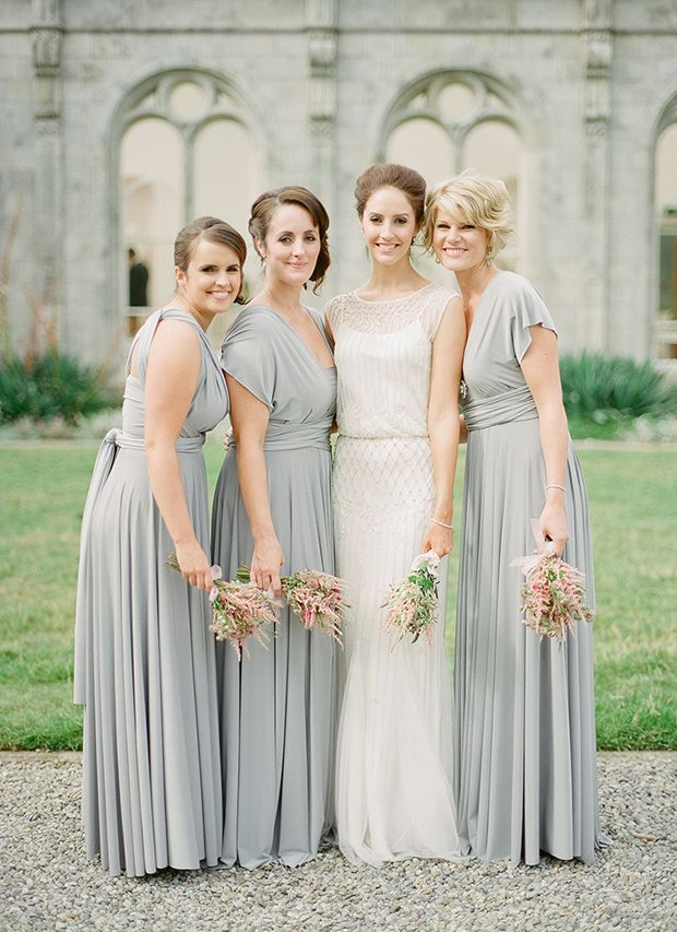 Platinum grey ballgowns | twobirds Bridesmaid Dresses | A beautiful wedding featuring our multiway, convertible dresses. Congratulations, Sorcha and Gareth! | Photography: Brosnan Photographic as seen on One Fab Day