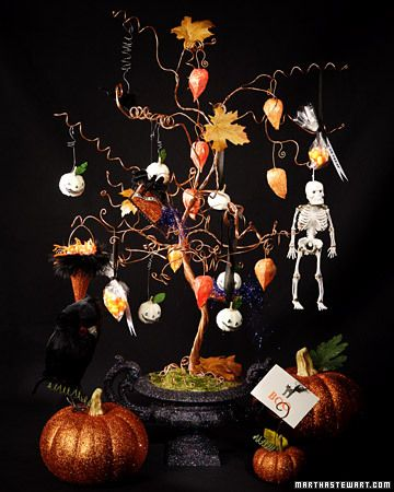 glitter lady laurie davis joins martha to craft glittered halloween trees and ornaments - Halloween Tree Ornaments