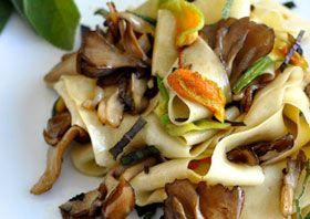 Maitake Squash Blossom Fettuccine by meatlessmonday #Pasta #Squash_Blossoms #Herbs #Mushrooms